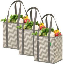 Foldable、折りたたみ、耐久財およびEcoの友好的で再使用可能な食料雑貨3パックのシェブロンのショッピングボックス