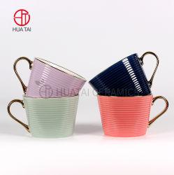 Vente chaude gaufré forme filetée Gold-Plated tasse à café en céramique émaillée de couleur