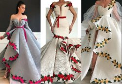 Lace Contratante Beca 3D bordados coloridos vestido de noiva Suite Noite Dress Lb20610