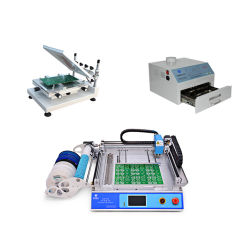 Classic: Chm-T36 SMT coger y colocar la máquina de alta precisión de + Galería 3040 Impresora + Chmro-420 Horno de reflujo, la línea de montaje PCB