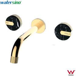 La filigrana 3-Hole ha spazzolato il colpetto fissato al muro freddo caldo del bacino della doppia maniglia nera opaca di marmo dell'oro