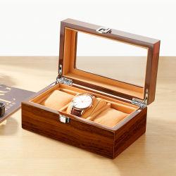 Novo visor de inspeção de madeira organizador da caixa de madeira de relógio superior Fashion Assista a embalagem de armazenamento de caixas de jóias caso
