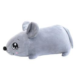 Lindo Logotipo personalizado regalo de promoción de los animales de peluche suave gris ratón de peluche juguete con un paño