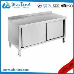 Armario de almacenamiento de la cocina de acero inoxidable armario moderno con backsplash