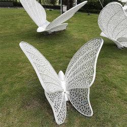 크고 아름다운 실물 크기의 스테인리스 스틸 조각 하얀 나비 조각