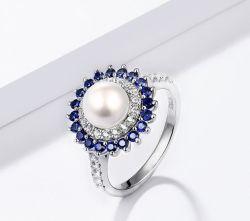 Água Doce Natural Pearl Sapphire Sterling Silver da mulher ao redor Pearl estilo clássico de bijutaria Dom para elegante Senhora
