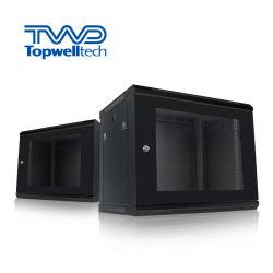 Alimentação China Barato preço 6u-22U pequeno rack de servidor para montagem na parede 19 Polegadas Servidor de Rede Cabinet com trancamento porta de vidro
