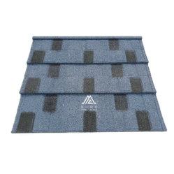 مصنع تشجيانغ رقاقة ملونة من الحجر المطلية بأحجار الصننك المجعدة من الفولاذ الزنك إطارات السقف المتجانبة