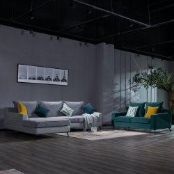 Salón Furnitue populares barato moderno bastidor de madera maciza moderno, de 5 plazas sofás de tela seccional Set