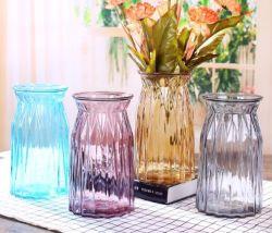 Usine de décoration d'accueil de gros cristaux de mariage bleu clair Art Glass Vase de fleurs