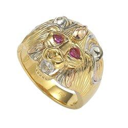 14K 10K 18K 925の純銀製の真鍮の韓国様式三カラー大きい方法宝石類の動物のヘッド人のリング