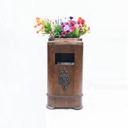 Pattumiera di legno dell'immondizia del cestino residuo della pattumiera del metallo (SI-739)