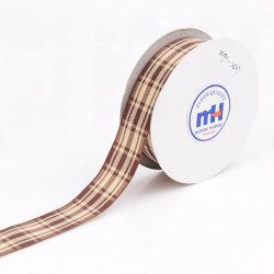 Wired Edge Chocolate Brown en Cream Plaid Craft Ribbon