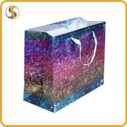 Llevar la bolsa de papel reciclado con holograma de embalaje de productos de lujo