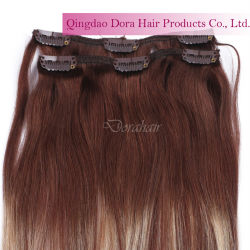 Double appelée Remy Virgin pleine d'un sèche cheveux humains Bangs Clip