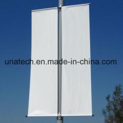 Pubblicità del hardware esterno di sostegno del manifesto del Palo della lampada di via di immagine della bandiera