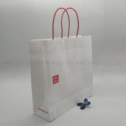 Настраиваемые переработанной бумаги, пакет подарочной упаковки белой крафт-магазинов сумочку для одежды/косметический/Продовольственной упаковки с вашим логотипом