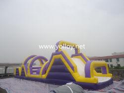 Коммерческие открытый детский парк развлечений слайдов надувные препятствием на пути курс