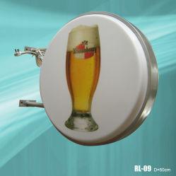 Casella chiara rotonda di plastica fissata al muro di pubblicità esterna (RL-09)