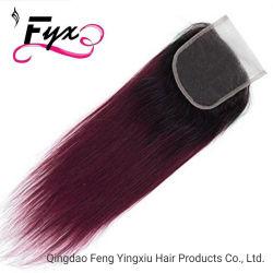 8-18inch 1b/99j Ombre 4*4のブラジルかペルーまたはインドの膚触りがよくまっすぐなバージンの人間の毛髪のレースの閉鎖
