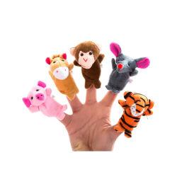 ブタ猿の馬のオオカミのトラの柔らかい家畜のおもちゃのFinggerのパペットは赤ん坊のためにセットした