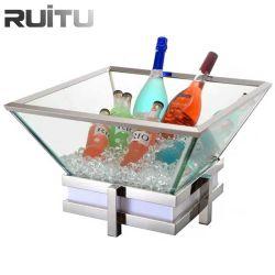 Buffet de salades LED RVB de la station de vidange du bac de glace avec buffet froid en acrylique transparent de la plaque d'équipement mobilier table bar à salade de saumon de fruits de mer de glace d'affichage sous forme de buffet