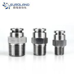 Edelstahl-männlich-weibliche Gewinde-Gefäß-Verbinder Adapter, PC pneumatischer passender Koppler