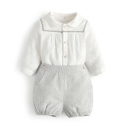 L'Espagne garçons Vêtements de style boutique de vêtements Bébé garçon Set s'adapter à des enfants à manches longues Tee-shirt blanc+pantalons courts Kids tenues d'espagnol