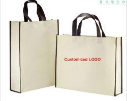 昇進の安いロゴはカスタマイズされたリサイクルされた買物をすることを再使用可能な薄板にされたショッピング・バッグを包む印刷しなかった編まれた袋Eco