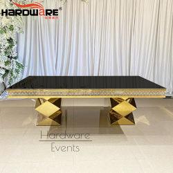 장방형 금 스테인리스 유리제 상단 LED 호화스러운 결혼식 테이블