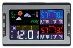 실내 실외 온도계 대형 컬러 LCD 스크린 날씨 시계 온도 및 습도 모니터 도매