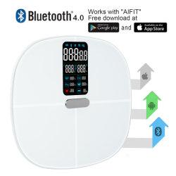 L'OTI Glass Body Balance de la fréquence cardiaque de la fonction Bluetooth de l'échelle de graisse corporelle