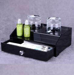 Comercio al por mayor claro desechables de acrílico de escritorio personalizado artículos de tocador de Hotel en caso de organizador con cajón
