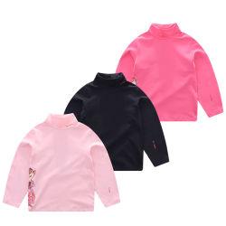 Pente único elásticas de algodão Jersey Impresso Gola de Manga Longa camisa T da Menina