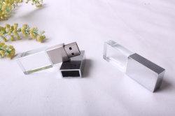 Logo 3D personnalisé cadeau cristal de verre lecteur Flash USB Stick avec lumière LED colorées