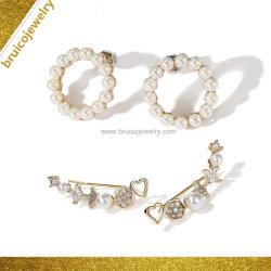 Usine de bijoux en argent Sterling Commerce de gros 925 18K 14K 9K de bijoux de placage en or blanc perle CZ Earring