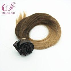 Commerce de gros Double tiré aucune enchevêtrement & excrétion Clip transparente dans les cheveux Extensions couleur blonde
