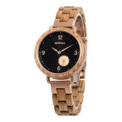 Bewell actual de los relojes de acero inoxidable con madera para hombres y mujeres llevan reloj de pulsera joyería personalizada Wath Watch con etiqueta privada