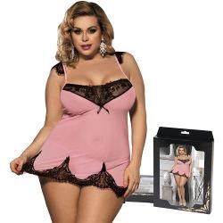 Sexy Hete Transparant van vrouwen plus Nachthemden van het Kant van de Grootte de Roze