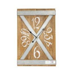 Horloge murale en bois de style industriel avec traversé Fleuret