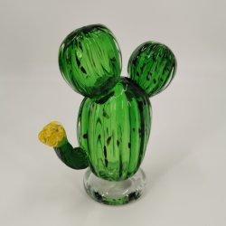 Soporte estante de vidrio soplado a mano Cactus verdes con flor amarilla para la decoración del hogar