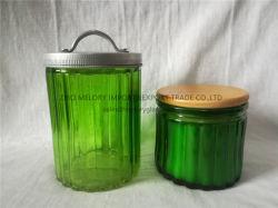金属製蓋付きのリッジガラスキャンドルホルダー / ガラス容器 / 木製蓋