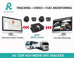 Canal 4 de la tarjeta SD de 128GB CCTV DVR móvil 3G 4G WiFi GPS 720p 1080P Cámaras Ahd Coche Mdvr Tracker