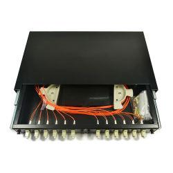 """Venda por grosso de fibras de montagem em bastidor de 19"""" do painel de distribuição de 24 portas ODF Sc Conector LC deslizando o painel de patch de Fibra Óptica"""
