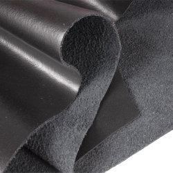 Zwarte basis van gerecycled leer met PU-coating