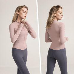 União e American Sports vestuário exterior da Tight-Fitting Zipper Long-Sleeved Yoga Fitness Camisa de Desgaste