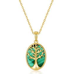 Nueva ronda de la llegada de forma de círculo de plata esterlina 925 Collar de malaquita verde de la novia de San Valentín Regalo parte buena suerte