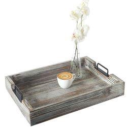 金属のハンドルの木製のクラフトボックス記憶の版のパッケージボックスが付いている木のサービングの皿