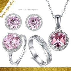 925 nupcial Sterling Silver Gold Diamond Necklace Ring Earring Set de Joyas joyas de moda para aniversario de boda