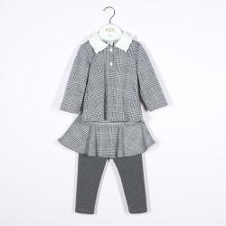 Клетчатую девочка, одежду двух исков с рубашки поло верхняя и юбка Leggings